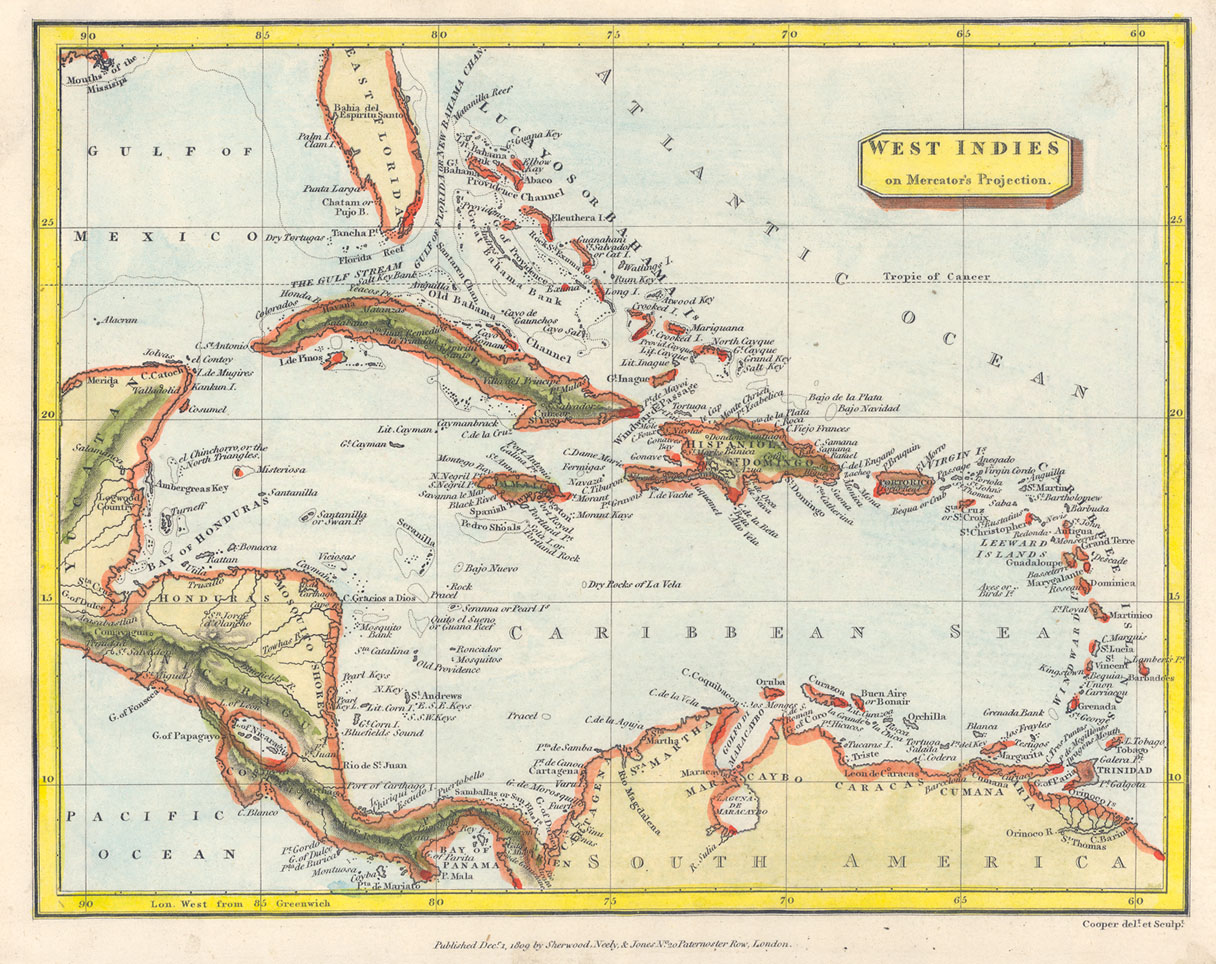 Rare books and special collections maps of the west indies niu map of the west indies with the coastlines colored in orange thumbnail gumiabroncs Choice Image